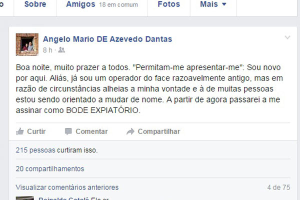 Coronel usou o Facebook para criticar postura do Governo