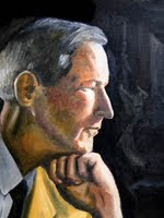 Profile painting (by Eric Robert Morse, 2005) of Jacques Barzun at around 40 yrs. old. Title: With Light from a New Dawn, 11