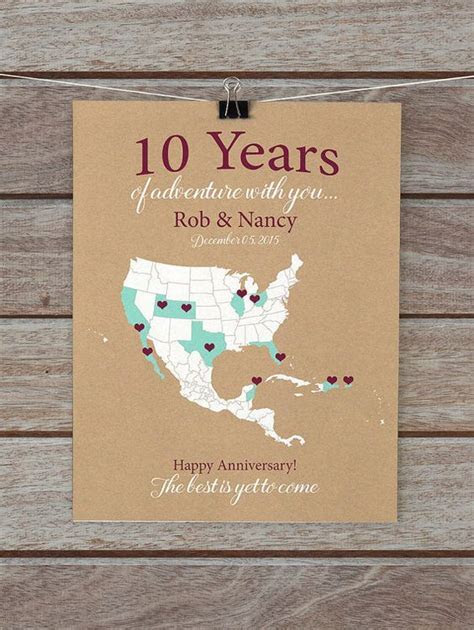 10 Year Anniversary Gifts, 10th Anniversary Personalized