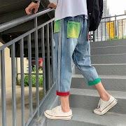 Cheap Hip Hop Jeans Men's Fashion Hit Color Hole Patch Jean Pants Men Streetwear Denim Trousers Mens Cowboy Lothes Large Size M-5XL