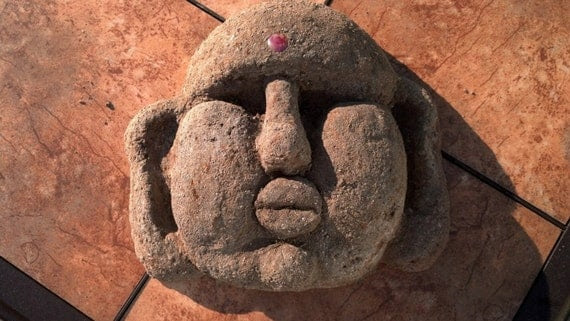 Fat Buddha Garden Face Zen Outdoor Decor Hypertufa by TotallyTufa