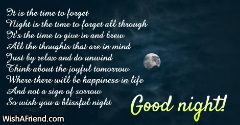 It Is The Time To Forget Good Night Poem