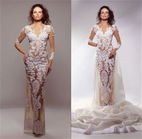 Fashion Bridal Gown V Neck Fitted illusion Tulle See