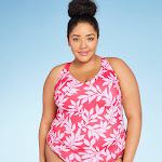 Women's Plus Size V-Neck Tankini Top - All in Motion Red Floral 18W