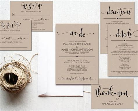 We Do Wedding Invitation Template, Rustic Kraft Invitation