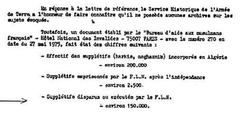 Extrait d'un document du service historique de l'armée de terre, avril 1977.