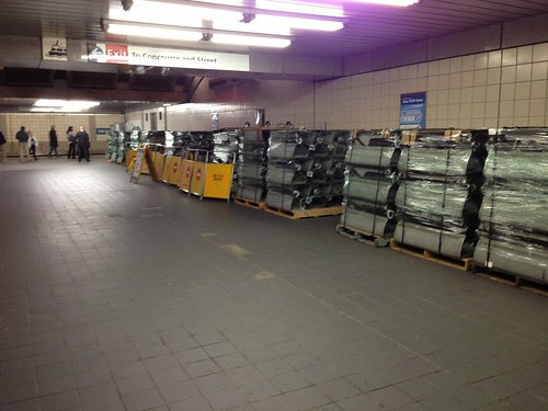 Pallets with replacement parts of Exchange Place elevators