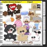 Crazy Cat Lady Clipart - CU