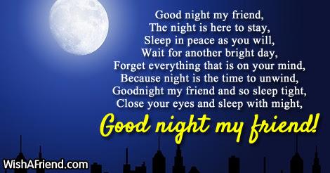 Good Night My Friend Good Night Poem