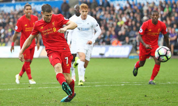 Image result for milner penalty kick against swansea