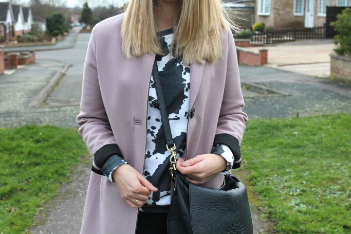 ASOS cow sweater and topshop coat