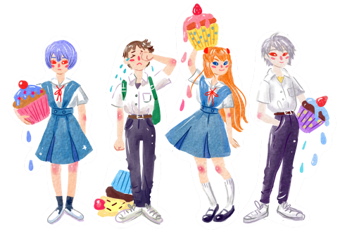 Evangelion characters with cupcakes :)More stickers muahaha
