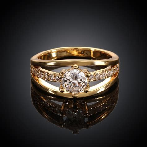2015 Sale 18 k Gold Plated Engagement Ring Jewelry For