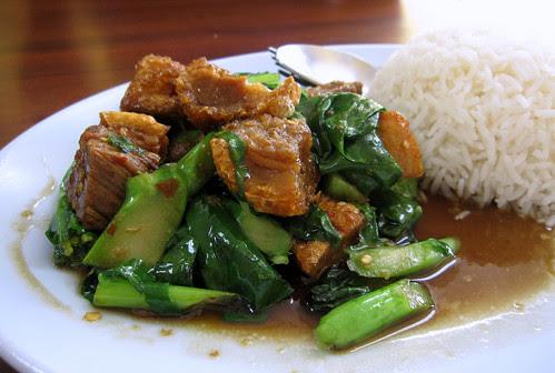Chinese broccoli and crispy pork