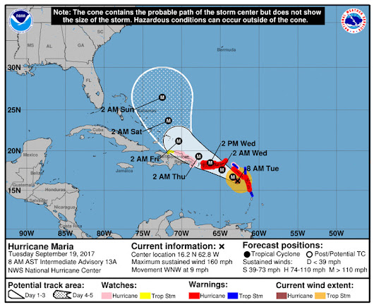 Intensifying Hurricane Maria is a severe threat to the Caribbean and Puerto Rico; Jose to scrape Northeast coast — The Washington Post