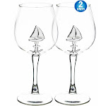 2pc 3D Sea Wine Glass With 3D Sailboat Inside - Creative High-end Crystal Wine Glass Nautical Ocean Theme Goblet Lead-free - Large 650ml