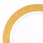 """Kaya Collection 10 Plates, 7.5"""" White with Glitter Gold Rim Plastic Appetizer/Salad Plates"""