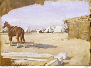 View from Major 'Banjo' Paterson's tent, Remount Camp at Moascar, North Egypt, 1918  George Lambert