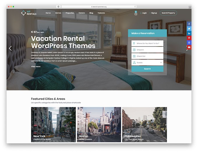 Free Vacation Rental Wordpress Theme