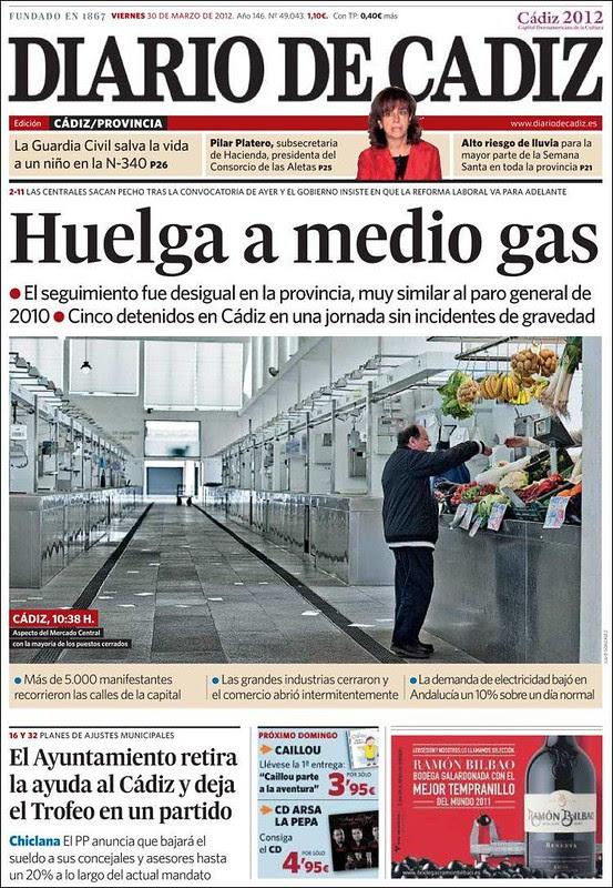 Portada 29M Diario de Cádiz