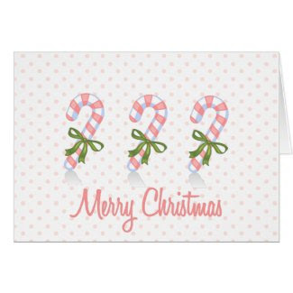 Pink Candy Cane Greeting Card