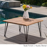 Christopher Knight Home Zion Outdoor Industrial Acacia Wood Square Coffee Table by, Size: Iron/Wood/Acacia, Brown