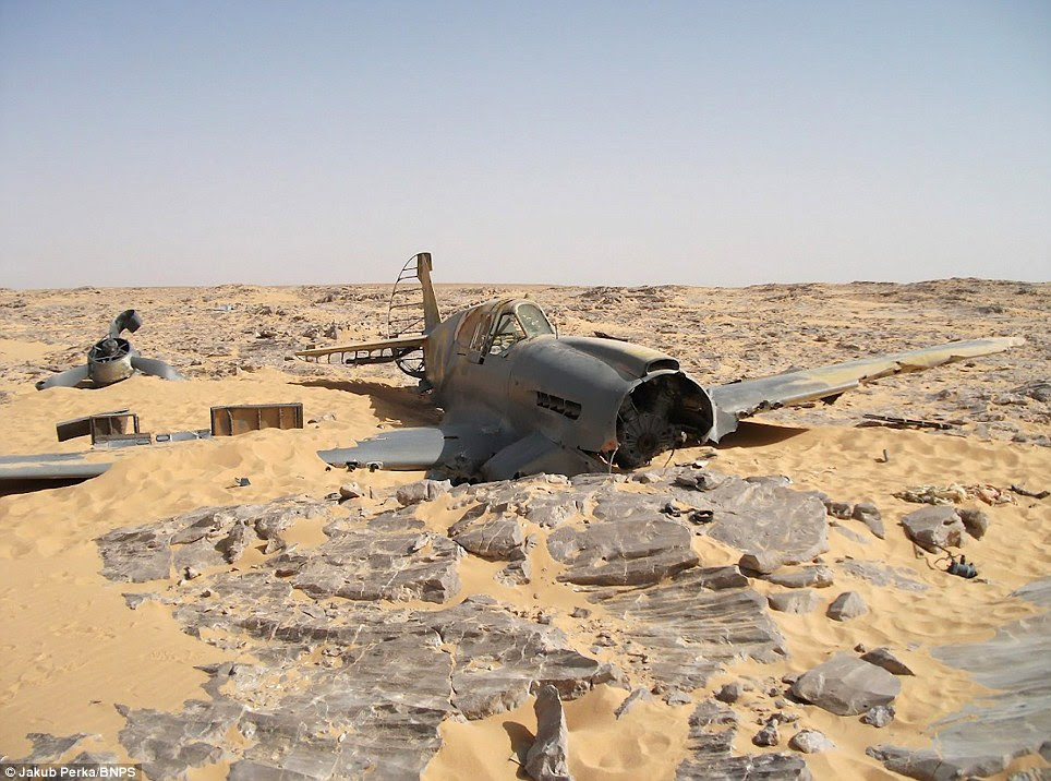 Shifting sands: The final resting place of the Kittyhawk P-40 has been discovered in the Sahara 70 years after it crashed there