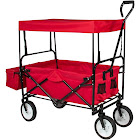 Best Choice Products Collapsible Utility Wagon Beach Cart with Canopy, Red