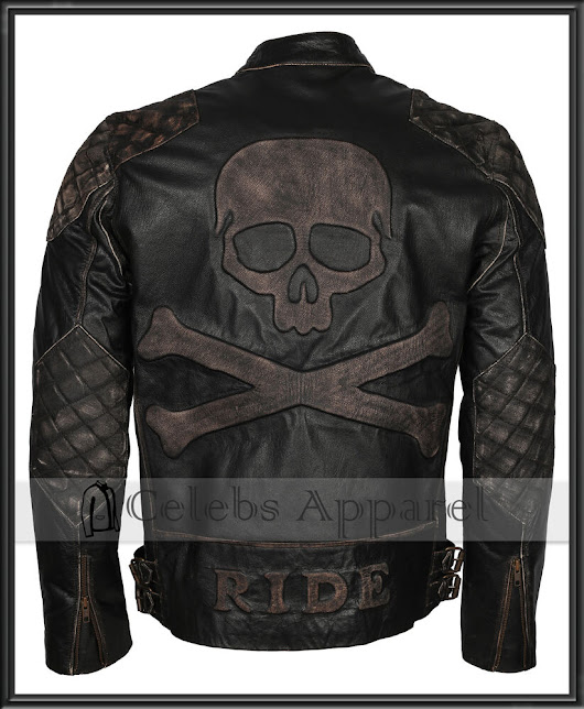 Men's Biker Distressed Black Speed Metal Skull Embossed Rider Leather Jacket 789058390065 | eBay