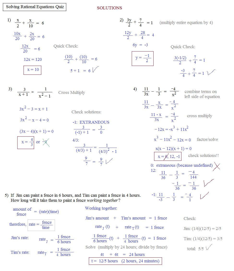Solving Rational Equations Fractions Calculator  solving rational equations mr casolo s shs