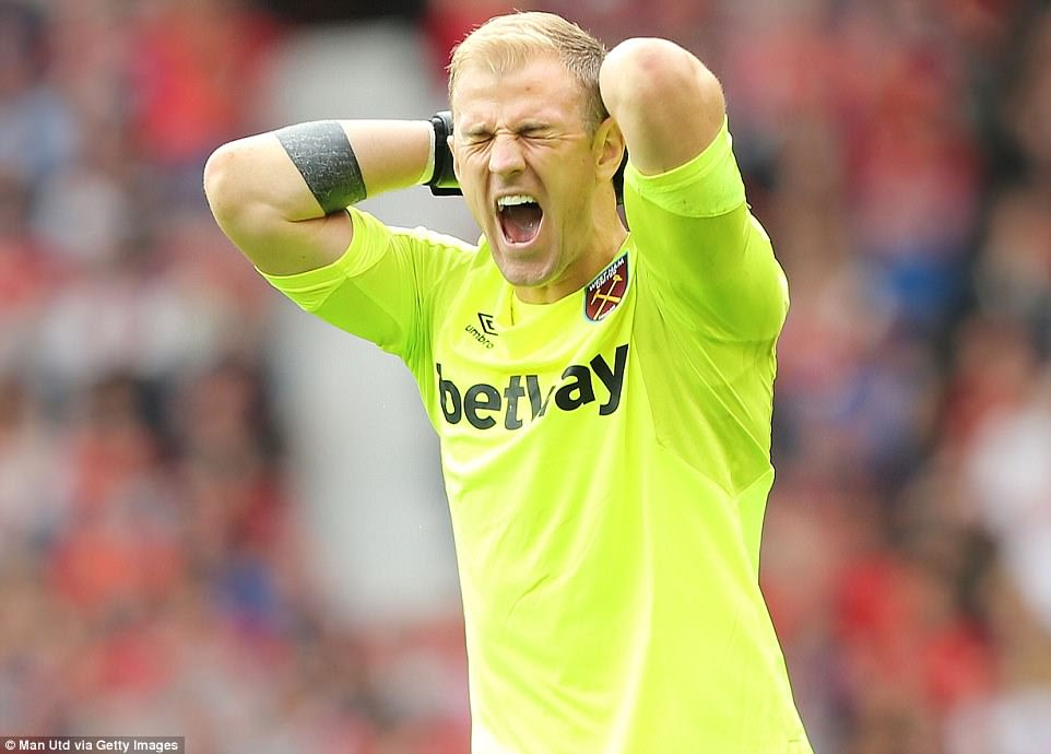 Hart screams in frustration as he sees his defence leave Lukaku unmarked and free to score Manchester United's second goal