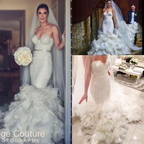 Suzanna Blazevic Cathedral Ruffles Train Mermaid Wedding