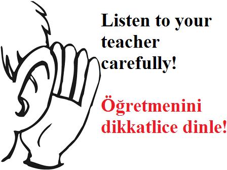 Sınıf Kuralları Ingilizce Türkçe