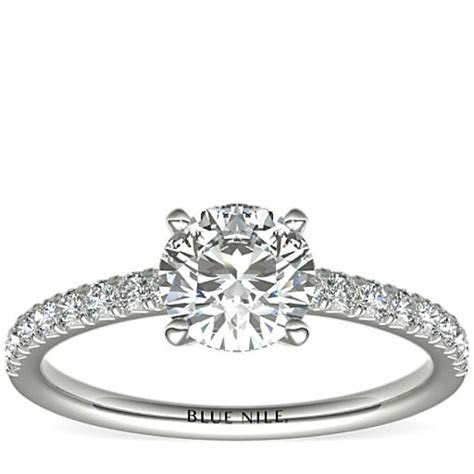 French Pavé Diamond Engagement Ring in Platinum (1/4 ct