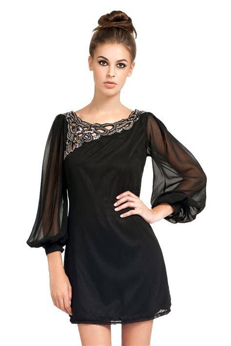 Little Mistress Black Embellished Neckline Chiffon Swing Dress