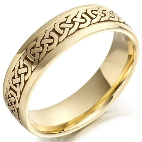 Irish Wedding Ring   Mens Gold Celtic Knots Wedding Band