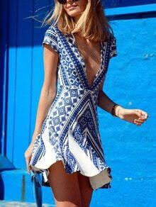 Blue Cap Sleeve profondo scollo a V Vestito con stampa vintage