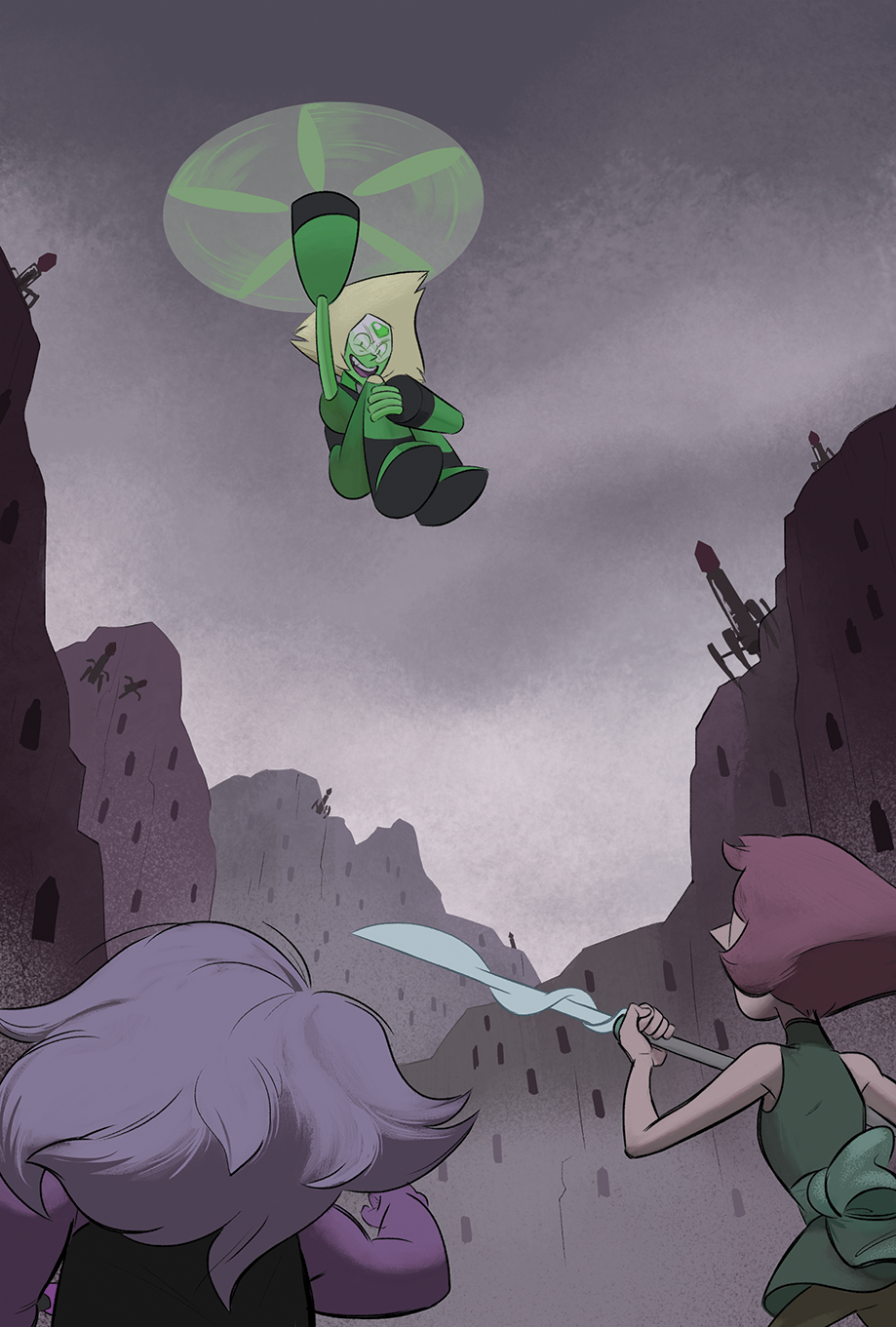 I can finally share my piece for @logdatezine2016, drew this back in November! It was a little rushed due to lack of time but I'm happy with it. I really miss villain Peridot from the early episodes...