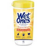 Wet Ones Antibacterial Hand Wipes Canister Kills 99.9% Germs Tropical Splash, 40 Ct