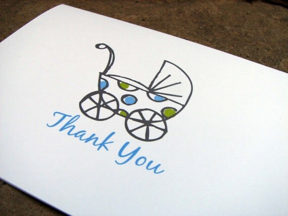 Boys Baby Buggy Thank You Note Cards