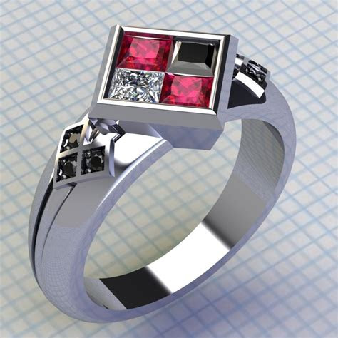 harley quinn ring ruby  black diamond ring