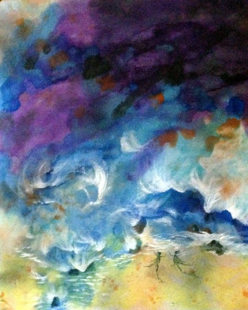 Storm Dancers, watercolor on rice paper, 14x16. $210