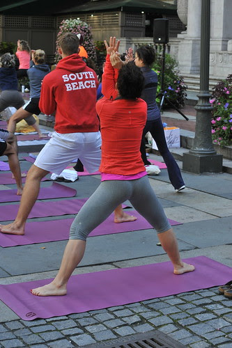 YOGA IN BRYANT PARK  (4)    -     Upper Terrace,  Bryant Park NYC    -       09/25/12 by asterix611
