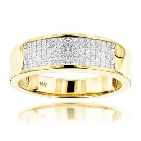 14K Gold Princess Cut Diamond Mens Wedding Ring 1.50ct