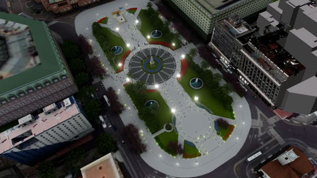 La imagen simula cómo se verá la Plaza de Mayo, durante la noche, luego de su puesta en valor