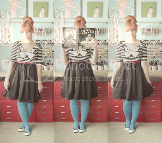 scathingly brilliant outfit post with modcloth dress and we love colors tights