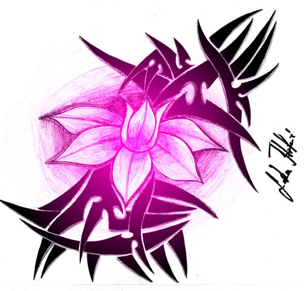 pink flower - flower tattoo