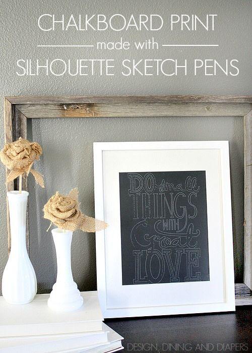 Sketch pen, Silhouette, project idea, chalkboard print