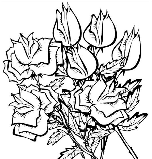 Tout un bouquet de roses à colorier
