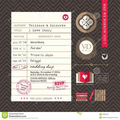 Library Card Idea Wedding Invitation Stock Vector   Image